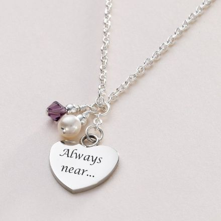 Engraved Steel Heart Necklace with Birthstone & Pearl